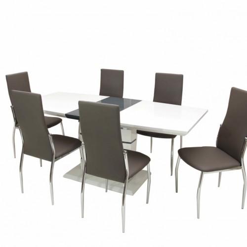 Aurél asztal 140-es Fehér/Szürke + 6 db Toni szék szürke