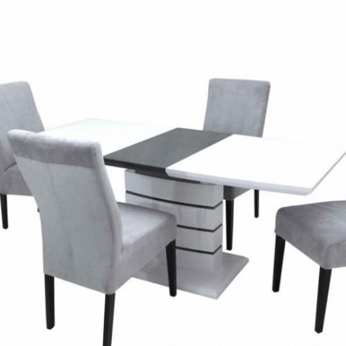 Aurél magasfényű asztal Mora székkel
