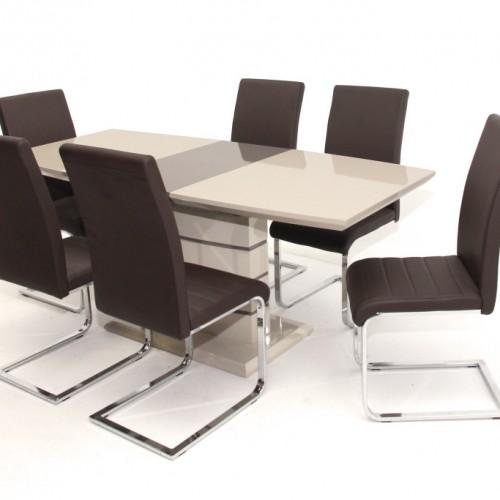 Aurél asztal 140-es Cappuccino/Barna + 6 db Boston szék Beige