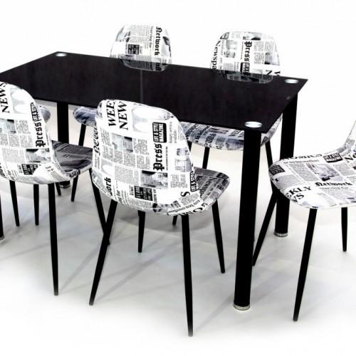 Geri üvegasztal 130-as Fekete + 6 db Maya szék Fekete újság