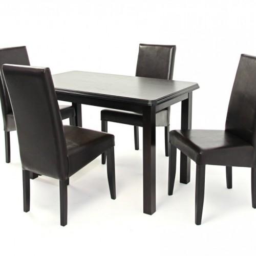 Kis Piano  SZ asztal 120-as Wenge + 4 db Berta SZ  szék Sötétbarna/Wenge