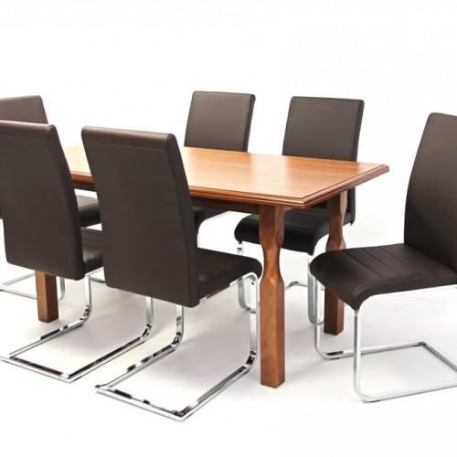 Raffaello asztal 160-as Mogyoró + 6 db Boston szék Barna