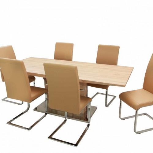Claudia asztal 160-as Sonoma + 6 db Boston szék Beige