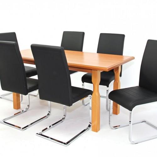 Raffaello asztal 160-as Éger + 6 db Boston szék Fekete